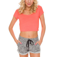 Lucy Basic Crop Top in Neon Coral