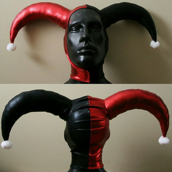 MADE TO ORDER Version 1: Harley Quinn Inspired Metallic Red and Black Stretch Jester Hat