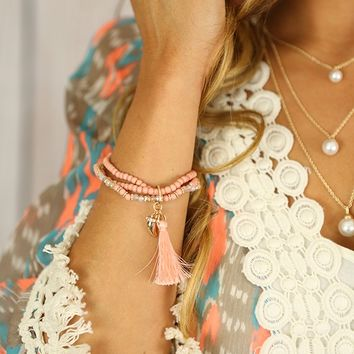 You're Charming Bracelet in Coral