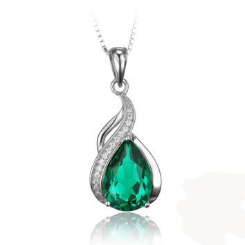 Silver 2.8ct PearCreated Emerald Pendant