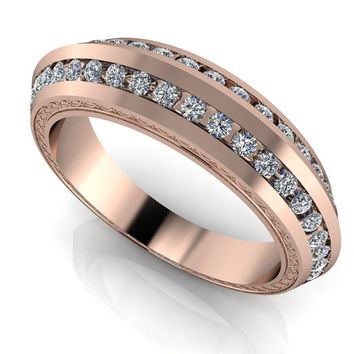Women's Inlay Diamond Wedding Band - 14 kt Gold Women's Wedding Band