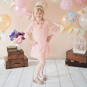"The ""Lulu"" Lace Dress - Pink"