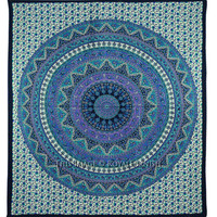 Queen Blue Mandala Psychedelic Bohemian Wall Tapestry Bedspread on RoyalFurnish.com