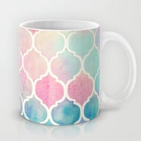 Rainbow Pastel Watercolor Moroccan Pattern Mug by Micklyn