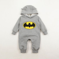 Batman baby rompers baby boys girls hooded fleece winter overalls for unisex baby long sleeve jumpsuit infant clothing Roupas