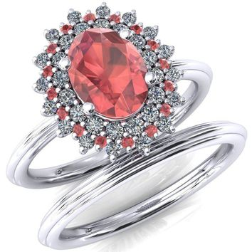 Eridanus Oval Padparadscha Sapphire Cluster Diamond and Padparadscha Sapphire Halo Wedding Ring ver.1