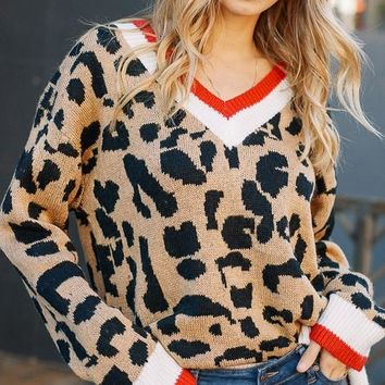 Leopard Oversized Sweater (Red)