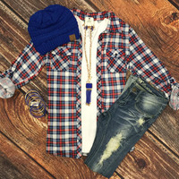 Penny Plaid Flannel Top: RWB