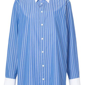Light Blue and White Striped Poplin Shirt by Maison Margiela