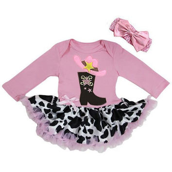 Baby Country Cowgirl Rhinestone Princess Dress Up Bodysuit Tutu Costume Headband Set