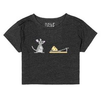 Mouse and Cheese Pixel Art-Female Heather Onyx T-Shirt