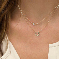 2 layer Chain necklace with Horseshoe and Rhinestone charm