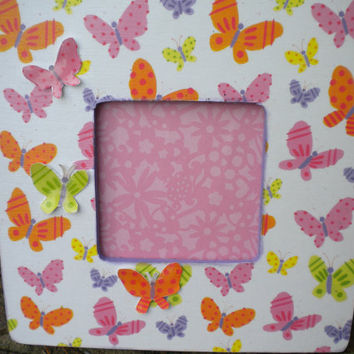 Butterfly Embellished Picture Frame 8 x 8 Wood Frame