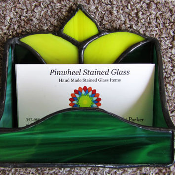 Yellow Tulip Stained Glass Business Card Holder