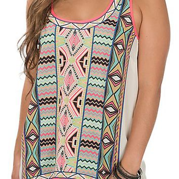 Flying Tomato Women's Cream with Multi Print Sleeveless Fashion Tank Top