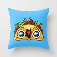 Excited Taco Throw Pillow by Artistic Dyslexia