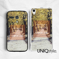 Life quote typo Sony Motorola phone case for Sony Xperia Z Xperia Z1, Moto G Moto X, park lane, Autumn view, yellow leaves road, C35