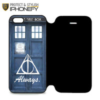 Always The Deathly Hollows Dr Who Tardis iPhone 5|5S Flip Case|iPhonefy