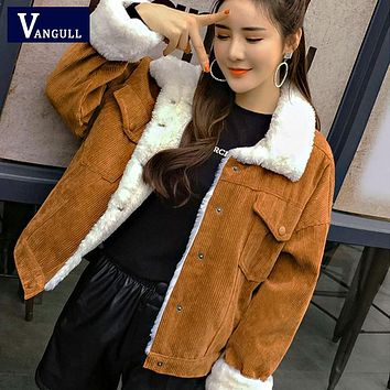 Women Winter Jacket Thick Fur Lined Coats Parkas Fashion Faux Fur Lining Corduroy Jackets Cute Outwear