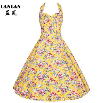 LANLAN XS-4XL Rose Printing 1950s Swing Dress 2016 Halter Midi Length Vintage rockabilly Dresses Women Plus Size Summer Dress