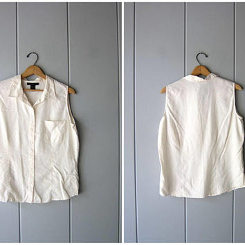 Modern Silk Tank Top Sleeveless Silk Blouse 90s Minimal Silk Top White Loose Fit Slouchy Top Silk Chic Button Up Vintage Womens Large