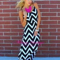 Black and White Ruffle Top Maxi Dress