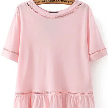 Peplum Hem Cut-Out Trimmed Pink T-shirt