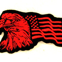 Eagle and flag	Red on Black Small Badge Patch for Biker Vest SB734