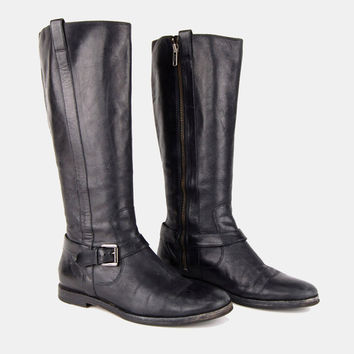 Cole Haan Black LEATHER Knee High Boots Vtg 80's Fitted Leg Stretch Faux Buckle Round Toe Biker Motorcycle Riding Minimalist- 7 US/37 EU