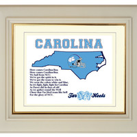 North Carolina Tar Heels Chapel Hill Football Art Print Fight Song State Map Gift Home Decor 8x10