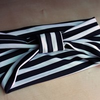 Black and White Stripe Turban Headband | Miracle Eye Original Clothing & Vintage