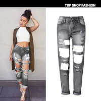 Hot Popular Women Ripped Boyfriend Hole Jeans Long Trousers Pants _ 1102