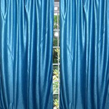 "Spanish Style Blue Tab Top Sari Curtain / Drape / Panel- Pair India Window Treatment Decor (Length: 84"".)"