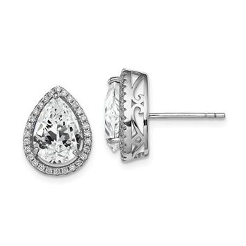 Sterling Silver Genuine White Topaz Pear Teardrop & CZ Halo Post Earrings
