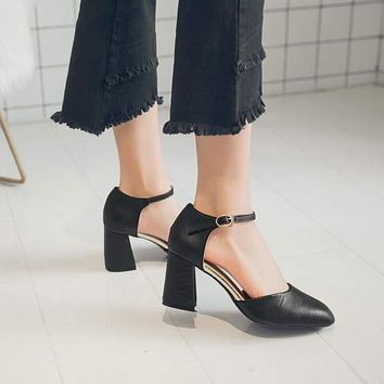 HEE GRAND Women Med Square Heel Pumps Sexy Style Women Fashion Casual PU Leather Spring Platform Buckle Strap Shoes XWD7274 Macchar Cosplay Catalogue