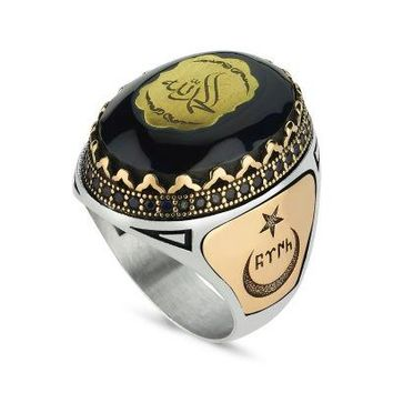 Amber gemstone with allah muhammed engrave sterling silver mens ring