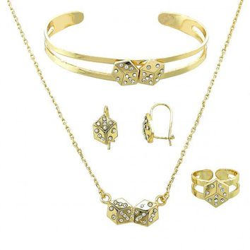 Gold Layered 06.165.0007 Necklace, Bracelet, Earring and Ring, Dice Design, with White Crystal, Polished Finish, Gold Tone