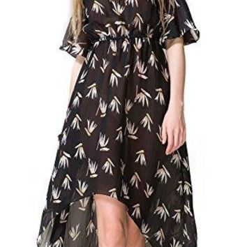 Chifave WomensnbspFloral Lotus Leaf Sleeves Swallowtail High Low Skater Dress