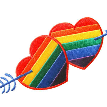 Gay Lesbian Pride Rainbow Hearts and Arrow Applique Embroidered Iron on Patch