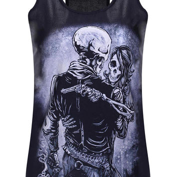 Black Skeleton Lovers Printed Tank Top
