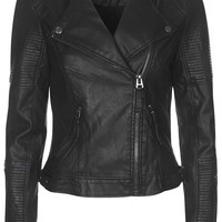 Faux Leather Quilted Detail Biker Jacket - Topshop
