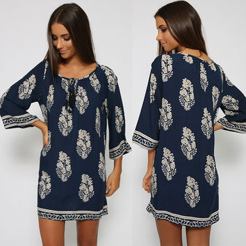 Vintage Style Women Casual Loose O Neck 3/4 Sleeve Print Summer Beach Dress