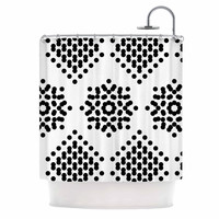 "Tiny September ""Black And White Dot Party"" Black White Digital Shower Curtain"