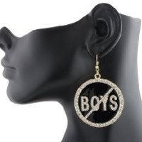 Goldtone with Black Iced Out No Boys Allowed Circle Fish Hook Earrings