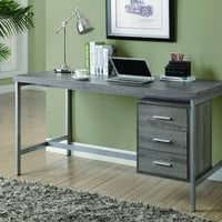 "Dark Taupe Reclaimed-Look/Silver Metal 60""L Office Desk"