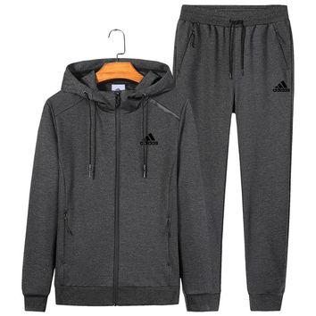ADIDAS autumn and winter new sports and leisure men and women models hooded sportswear two-piece Grey