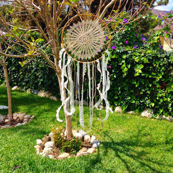 Crochet Doily Lace Beaded Dream Catcher