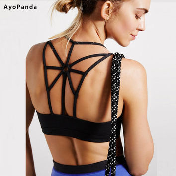 AyoPanda 2016 New Womens Sports Bra Options Padded Running Fitness Bra Push Up Sport Underwear For Ladies Strappy Back Yoga Top