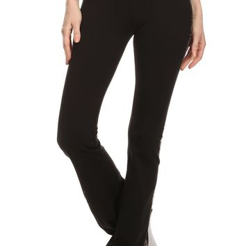 Solid Full Length Pants in a Fitted Style with a Waist Band and Rhinestone Details