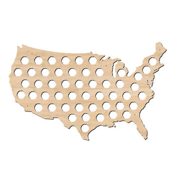 US Beer Cap Map - Holds Craft Beer Bottle Caps - Great for Man Cave or Guy Gifts